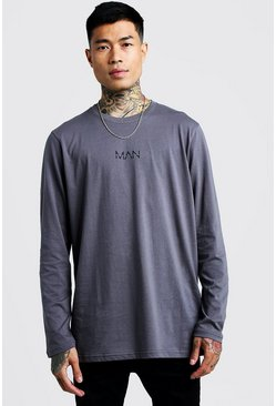 Mens Charcoal Original Man Longline Long Sleeve T-Shirt