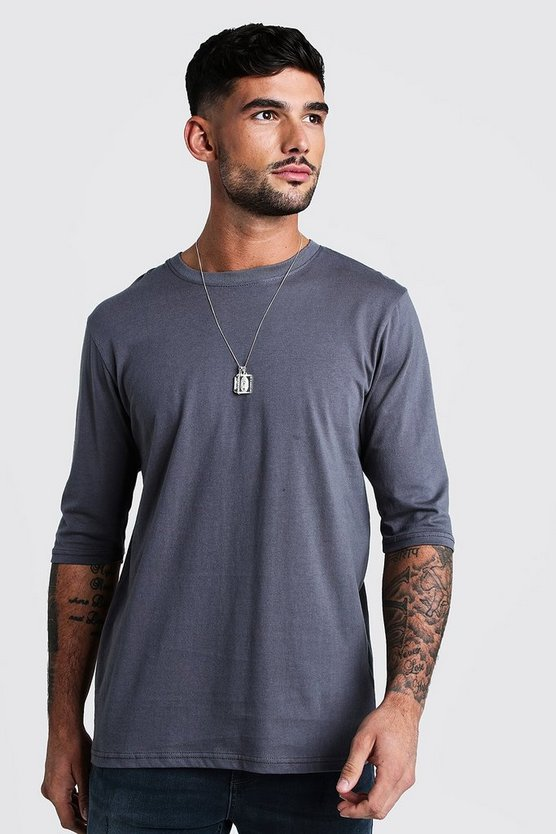 Mens Charcoal Loose Fit 3/4 Sleeve T-Shirt