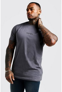 Mens Charcoal Original Man Longline T-Shirt