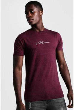Mens Burgundy Muscle Fit Man Signature Embroidered T-Shirt