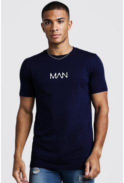 Mens Navy Original MAN T-Shirt In Muscle Fit
