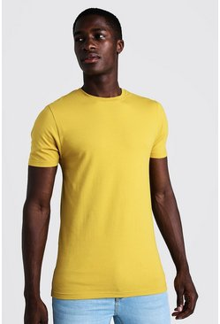 Mens Mustard Muscle Fit Crew Neck T Shirt