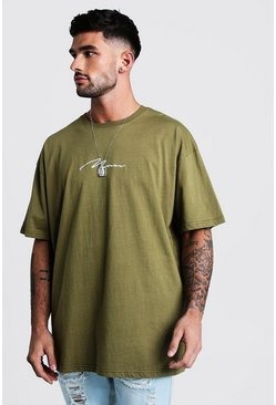 Mens Khaki Oversized MAN Signature Embroidered T-Shirt