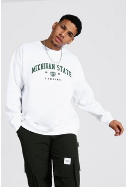 Oversized Michigan Varsity Printed Sweatshirt, White