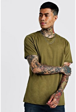 Mens Khaki Basic Roll Sleeve T-shirt