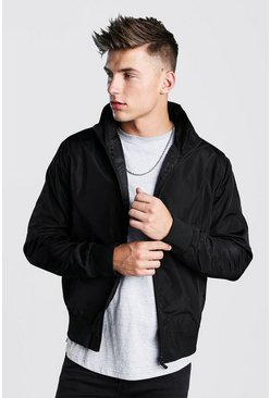 Black Nylon Collared Bomber Jacket