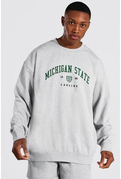 Grey marl Oversized Michigan Varsity Printed Sweatshirt