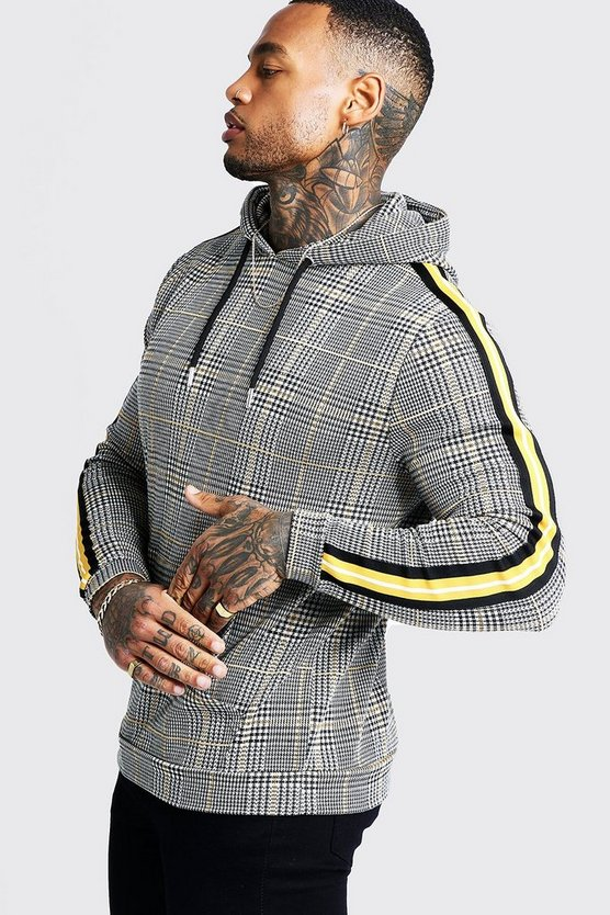Mens Mustard Houndstooth Check Over The Head Hoodie