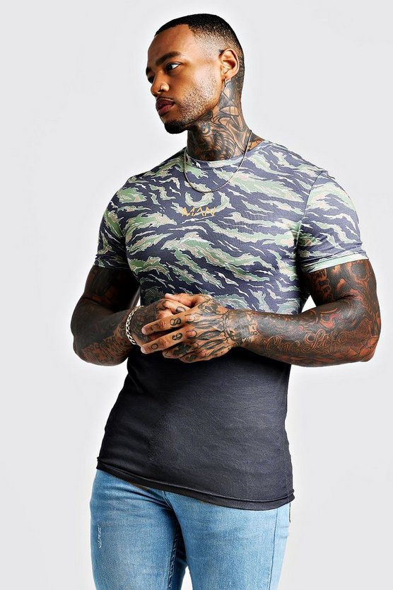Mens MAN Muscle Fit Faded Camo Print T-Shirt