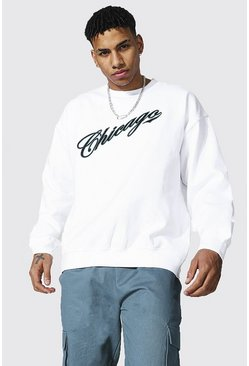 Oversized Chicago Varsity Printed Sweatshirt, White