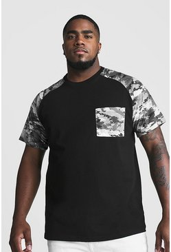 Mens Black Big And Tall T-Shirt With Camo Print