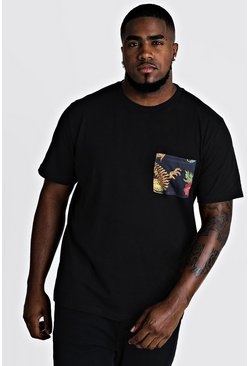 Mens Black Big And Tall T-Shirt With Oriental Pocket Print