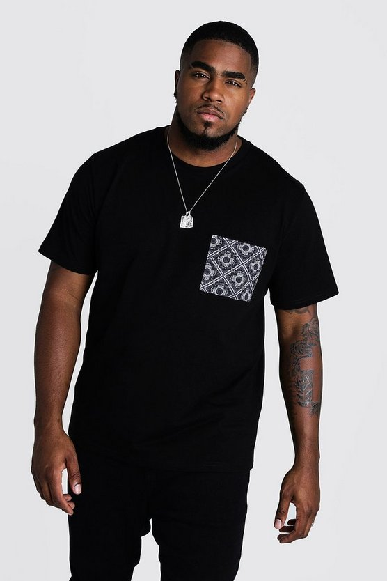 Mens Black Big & Tall T-Shirt With Bandana Pocket Print