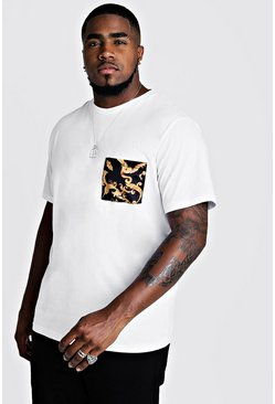 Mens White Big & Tall T-Shirt With Chain Pocket Print