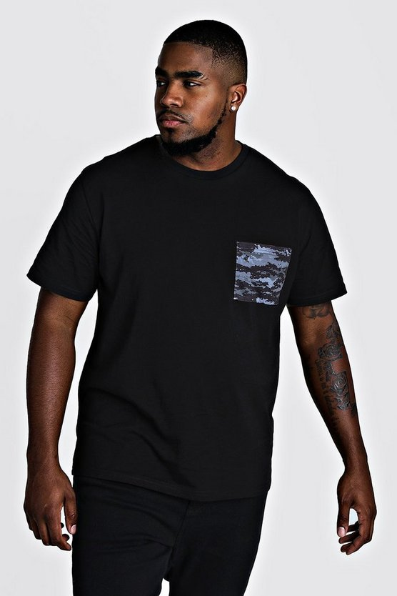 Mens Black Big & Tall Tonal Camo Pocket Print T-Shirt