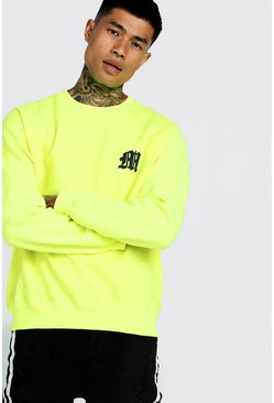 Mens Neon-yellow Neon M Puff Print Sweater