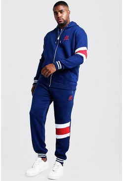 Mens Navy Big And Tall Tracksuit With Contrast Panels