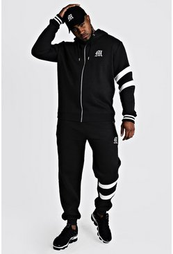 Mens Black Big And Tall Tracksuit With Contrast Panels