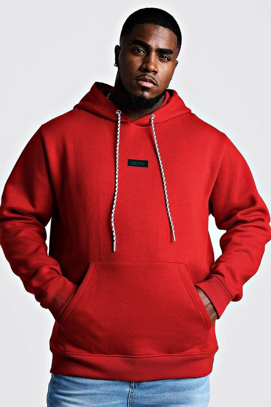 Mens Red Big And Tall MAN Branded Tab Hoodie