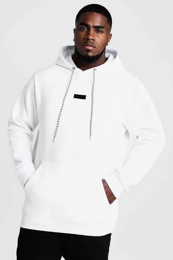 Mens White Big And Tall Branded Tab Hoodie