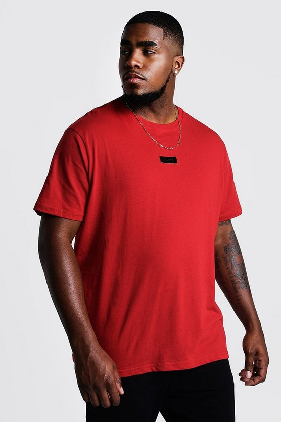 Mens Red Big And Tall MAN Dash Woven Tab T-Shirt