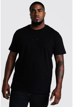 Mens Black Big And Tall MAN Dash Woven Tab T-Shirt