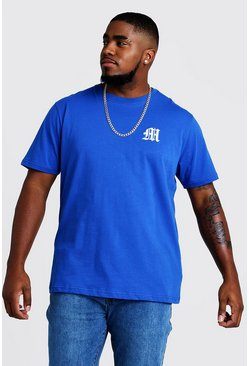 Mens Blue Big And Tall MAN Branded T-Shirt With Embroidery