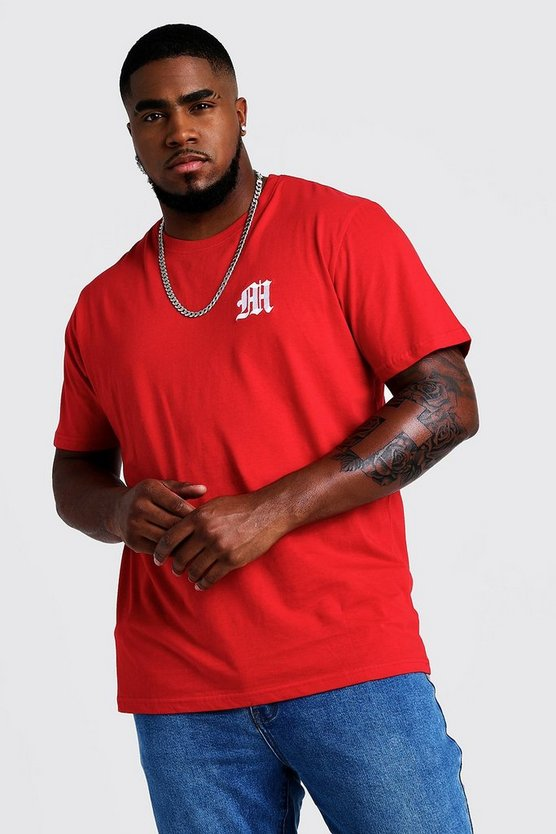 Mens Red Big And Tall MAN Branded T-Shirt With Embroidery
