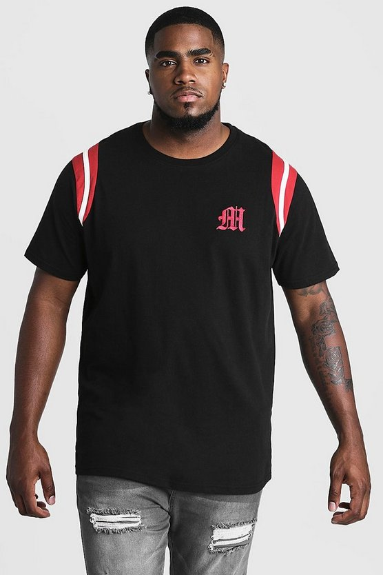 Mens Black Big And Tall MAN Branded T-Shirt With Tape