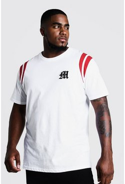 Mens White Big And Tall MAN Branded T-Shirt With Tape