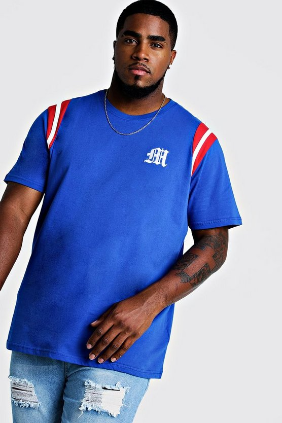 Mens Blue Big And Tall MAN Branded T-Shirt With Tape