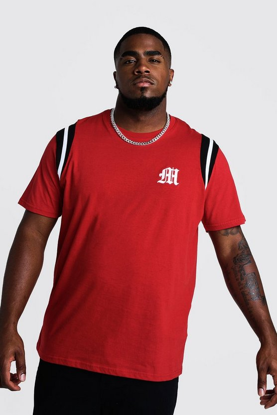 Mens Red Big And Tall Branded T-Shirt With Tape