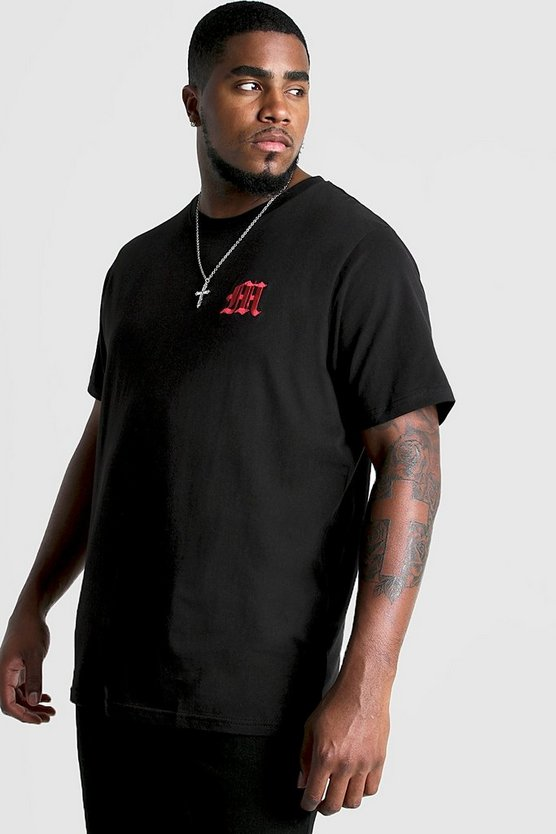 Mens Red Big And Tall Gothic M Embroidered T-Shirt