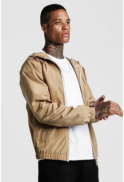 Mens Taupe Hooded Zip Through Bomber
