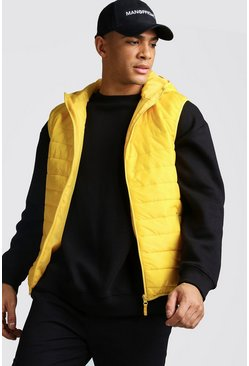 Mens Yellow Hooded Quilted Gilet