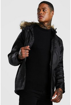 Black Faux Fur Hooded Parka
