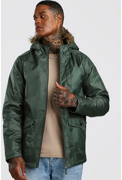 Mens Khaki Faux Fur Hooded Parka