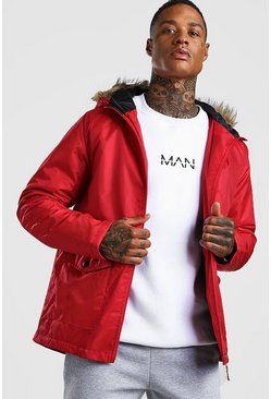 Mens Red Faux Fur Hooded Parka