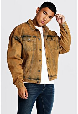 Mens Orange Drop Shoulder Oversized Denim Jacket In Acid  Wash