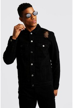 Mens Washed black Denim Jacket With Distressing