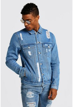 Mens Blue Denim Jacket With Distressing