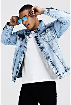 Mens Blue Loose Fit Acid Wash Denim Jacket