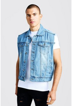 Mens Mid blue Oversized Sleeveless Denim Jacket