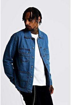 Mens Mid blue 4 Pocket Denim Jacket
