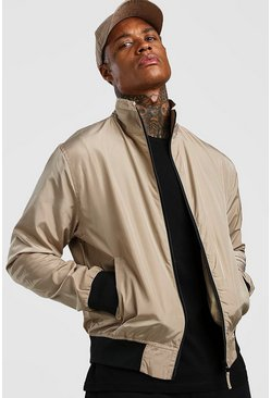 Mens Stone Nylon Collared Bomber Jacket