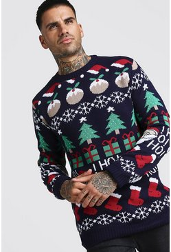 Mens Navy All Over Festive Knitted Christmas Jumper