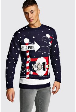 Mens Navy To The Pub Knitted Christmas Jumper