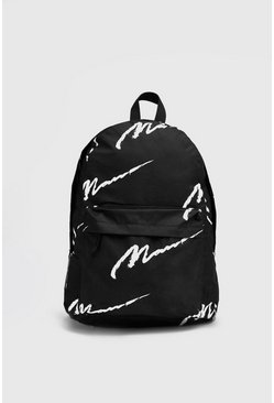 Mens Black All Over Man Script Backpack