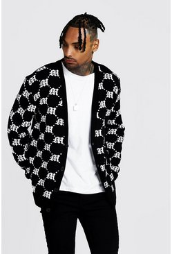 Mens Black Oversized Gothic M All Over Print Knitted Cardigan