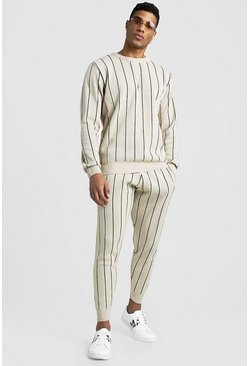 Mens Beige Knitted Jumper & Jogger Set With Pinstripe